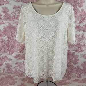 Banana Republic Lace Overlay SiXL Off White Lined